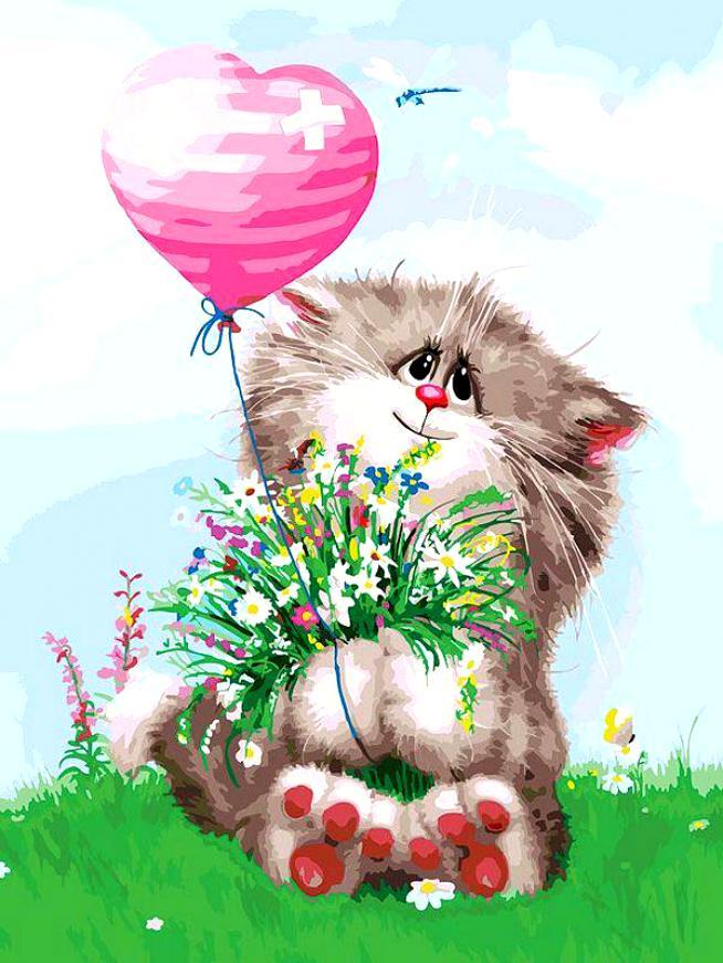 Картинки котика с цветочком