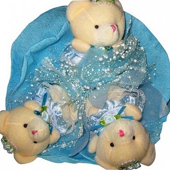 Букет Радуга из 3-х мягких игрушек (Мишки)